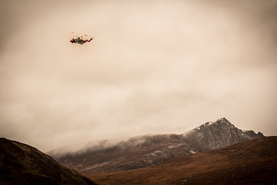Sikorsky rescue helicopter above Cir Mhor on the Isle of Arran.  2015