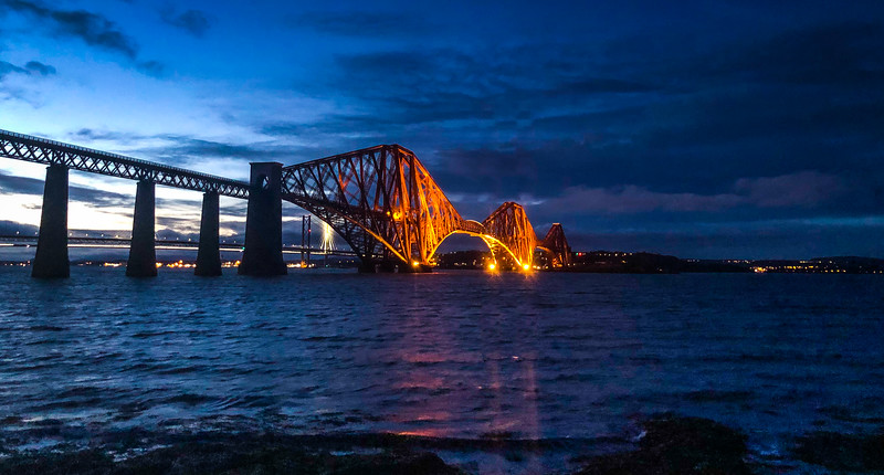 The Forth Rail Bridge from the track to Longraig.  Stunning architecture, demonstrates the strength of triangular structures (and that's where my structural engineering knowledge ends).