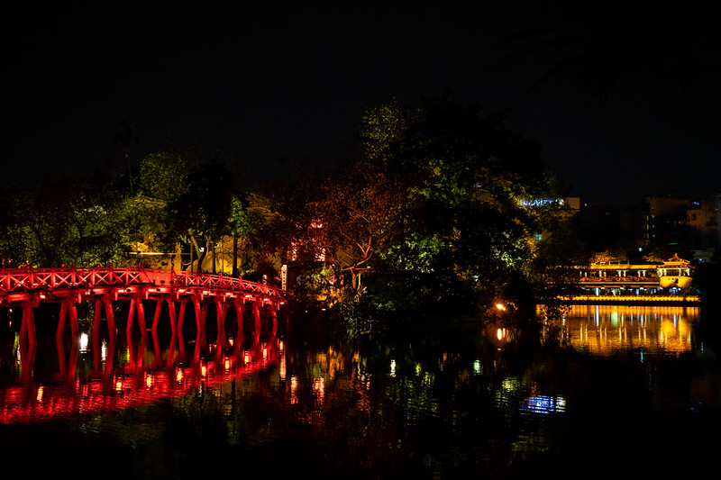 Bridge to the Ngoc Son temple in Hanoi at night.