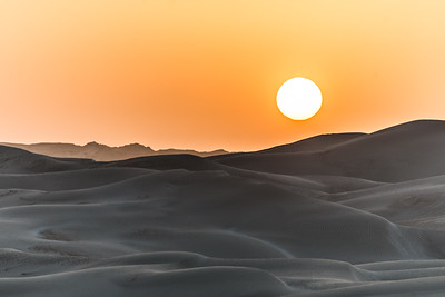 Sun sets over the sugar dunes in eastern Oman.