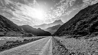 Wadi road through the Hajjar Mountains, Oman.