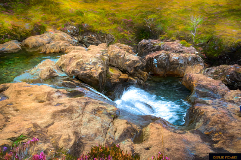 Artistic version of a Fairy Pool in Glenbrittle, Isle of Skye, Scotland.