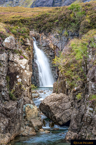 Waterfall at the Glenbrittle Fairy Pools, Isle of Skye, Scotland.
