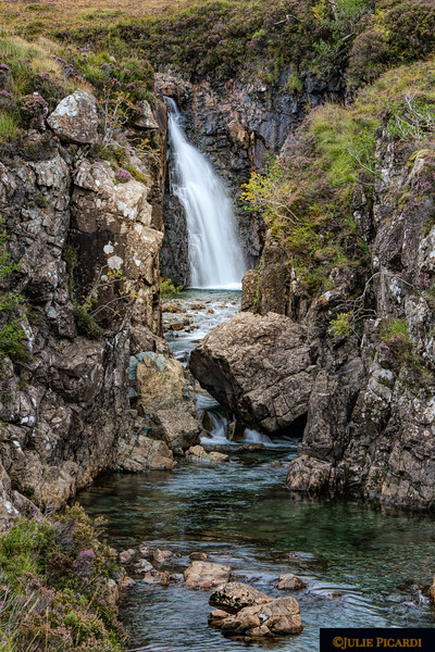 A different perspective of a waterfall at the Glenbrittle Fairy Pools, Isle of Skye, Scotland.