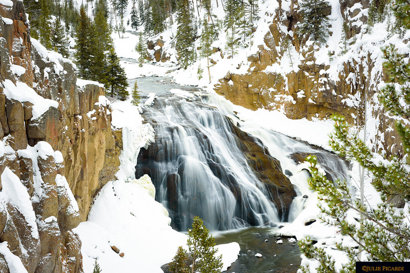 Gibbons Waterfall  during Yellowstone winter.