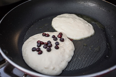 Huckleberry pancakes while camping in Paradise Valley.  Montana, 2015.