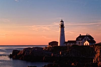 Summer sunrise at Portland Head Lighthouse, Cape Elizabeth, Maine.