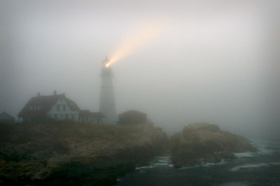July fog at Portland Head Lighthouse, Cape Elizabeth, Maine