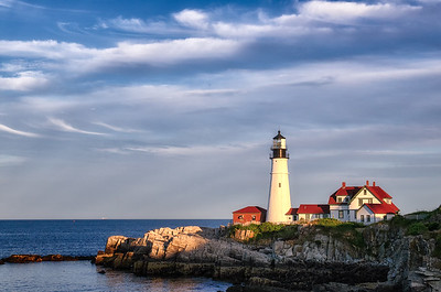 A summer afternoon at Portland Head Lighthouse in Cape Elizabeth, Maine.