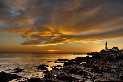 November sunrise at Portland Head Lighthouse in Cape Elizabeth, Maine