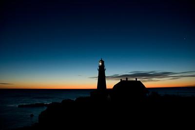 Venus at sunrise (upper right). Portland Head Lighthouse - Cape Elizabeth, Maine