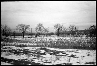 Pascack Valley Line, New Jersey February 1986.  (Olympus XA).