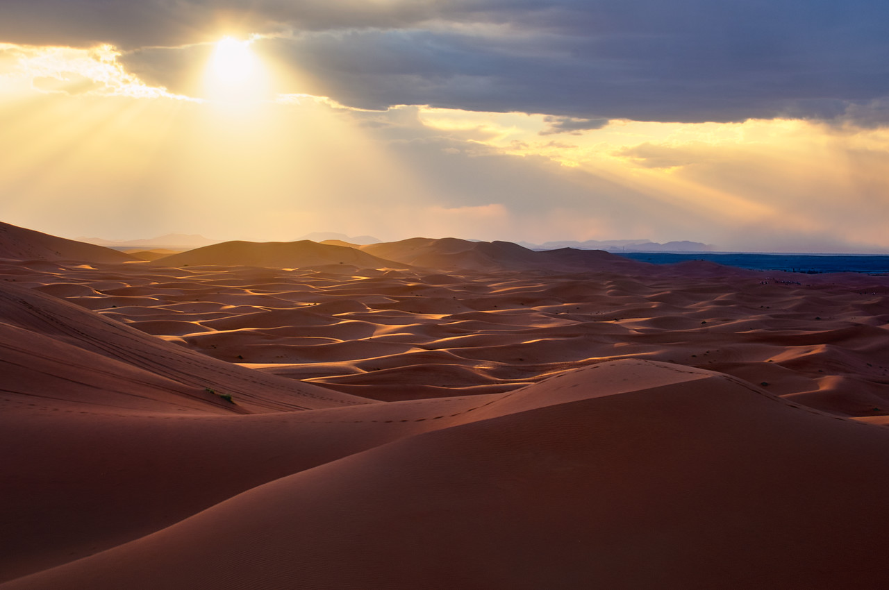 A storm over Erg Chebbi Dunes in the Sahara Desert