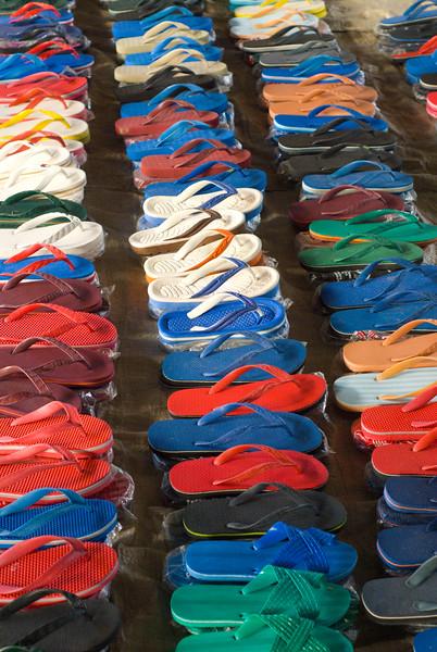 Flip Flops neatly arranged in a row
