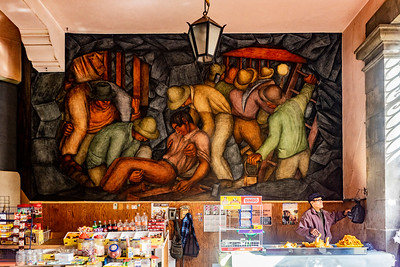 Mural above a stall in the Abelardo Rodriguez Market in Mexico City