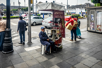 Shoe shine stand in the Zocalo