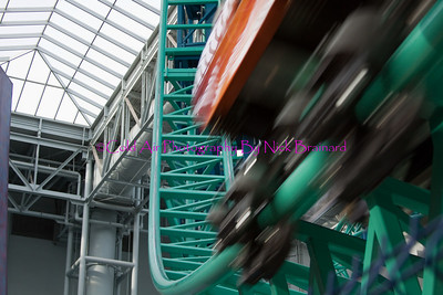 "MOA_Coster.jpg  Given that Nickelodeon Universe is built on a relatively small footprint, you can get remarkably close to some of the attractions. This photo is of the ""Rock Bottom Plunge"" and features a costar car zooming past out of the picture."