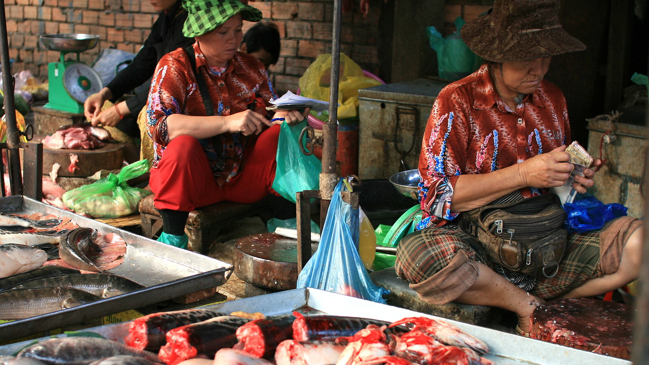Women at the Phnom Penh morning market crouch with their toes in the juices of the fish they are chopping.