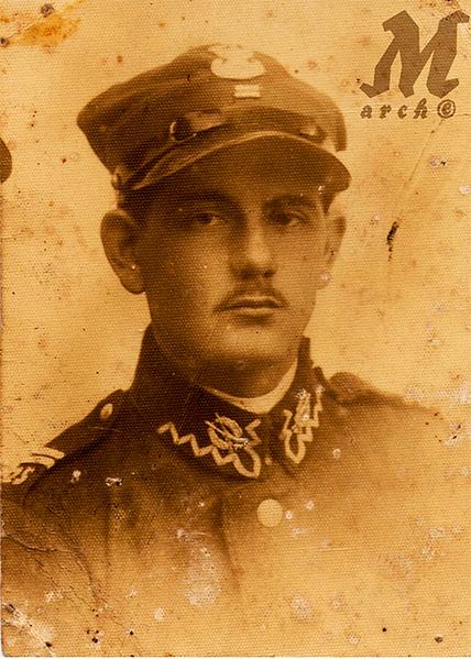 Стефан Король, капраль 25-го Піхотного Полку польської армії. Товариш дитинства Стефи Палагнюк (Романко). Петернів, 19 липня 1933.