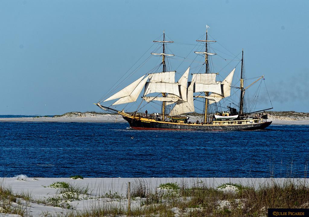 Tall Ship Barque Picton Castle departing Pensacola through the pass