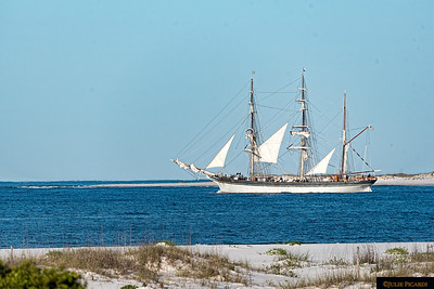 Tall Ship Elissa sails through the pass