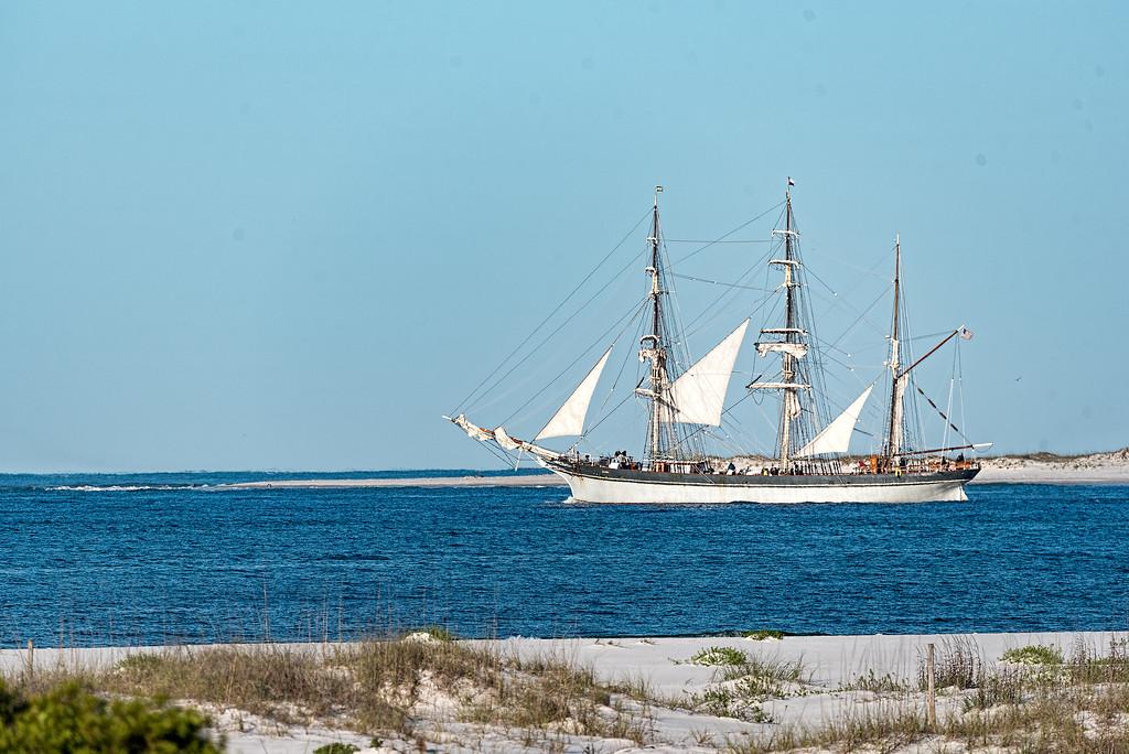 Tall Ship Elissa sails through the pass