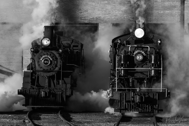 Nevada Northern Railway Locomotive #40 & #93 Steam out of the Engine House.