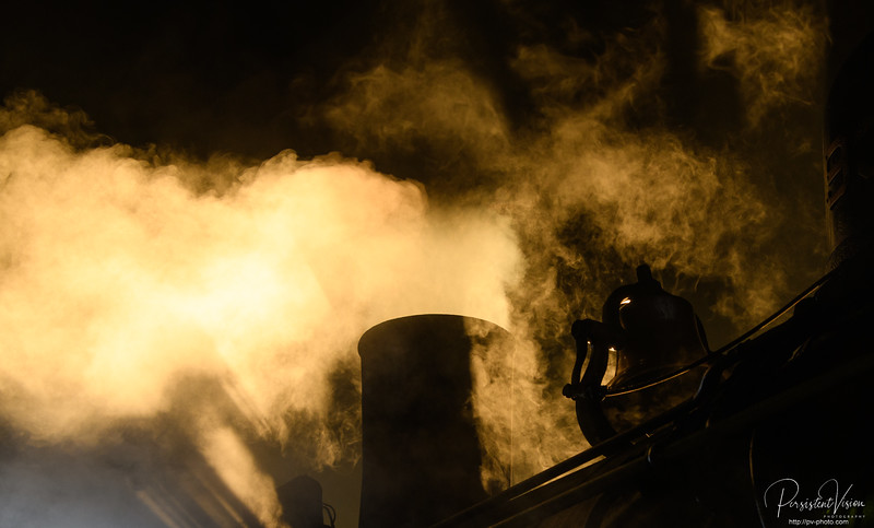 Steam from Locomotive #93 during morning startup