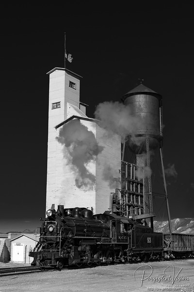 Nevada Northern Railway Locomotive #93 parked in front of the coaling and water towers
