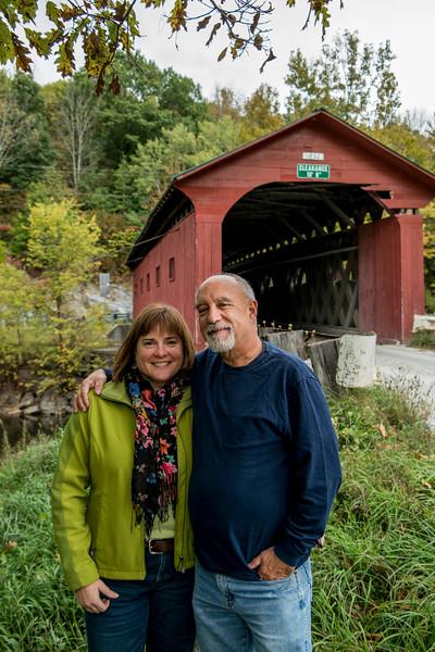 Arlington VT Kim and Tom at Covered Bridge 2 October 2016