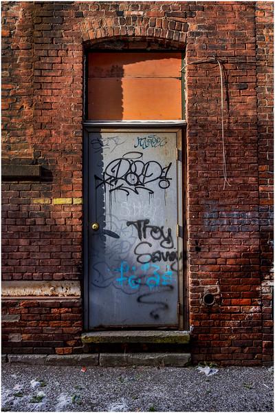 Troy NY Back Alley 19 Brick and Grafitti Door January 2017