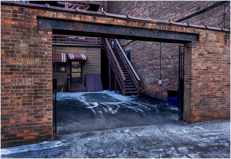 Troy NY Back Alley 4 Garage Couryard January 2017