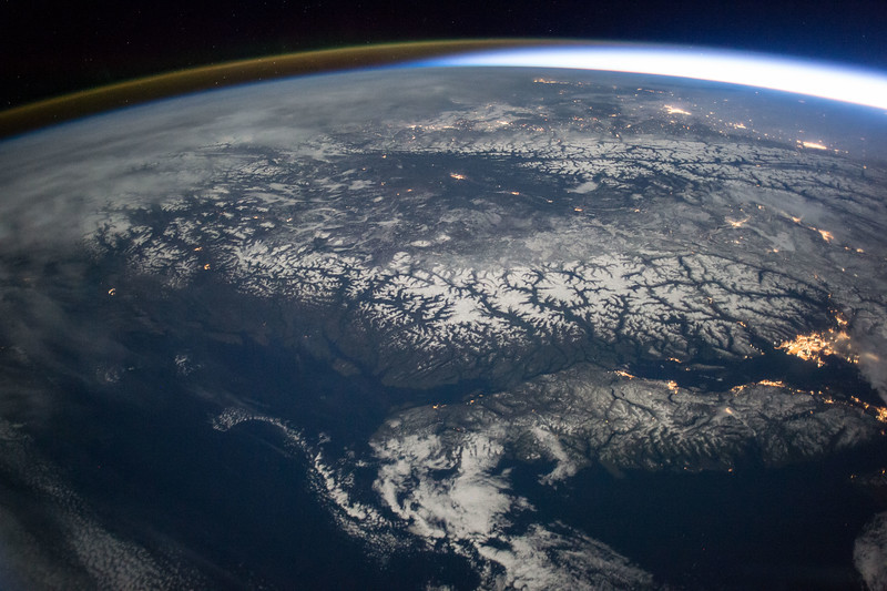 Vancouver, British Columbia, Canada - bright city to the right of photo