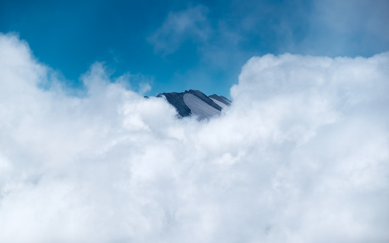 Mount St. Helens Peeking Through The Clouds