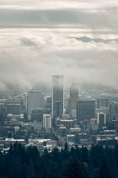 Clouds Covering Downtown Portland
