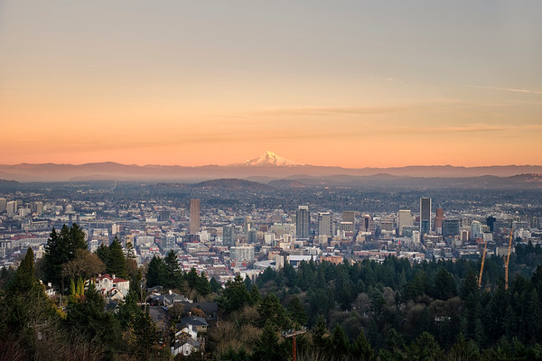 The City Of Portland At Sunset With Mt.Hood In The Background