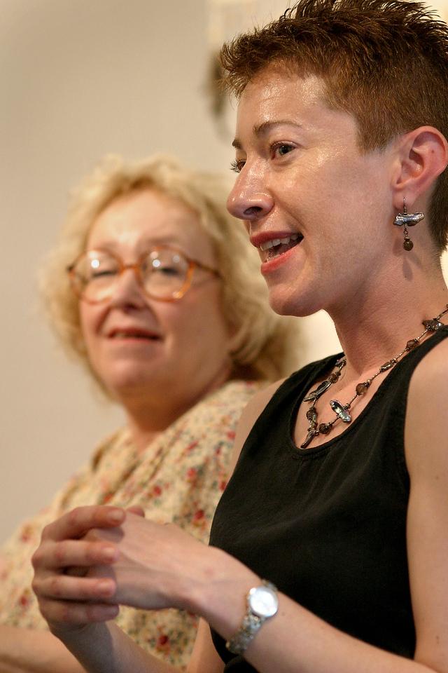 Artist Aimee Picard and Poet Deena Linett (glasses)