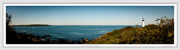 Panoramic view of Casco Bay and the Portland Head Lighthouse from Fort Williams in Cape Elizabeth, Maine.