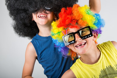 I got some colorful wigs and fun sunglasses at a party shop in Reykjavik. The boys were very eager to try on the props and to pose for some pictures.