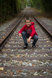 Posing on rail tracks