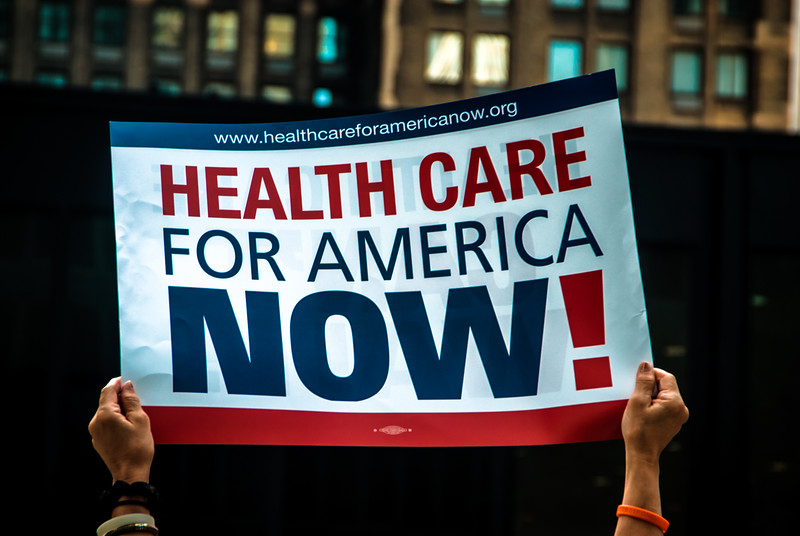 One of the First Rallies for Single Payer Health Care at the Federal Plaza in the Loop, Chicago, August 2009