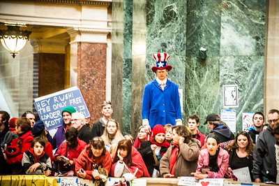 Protesters inside the capitol, Madison Wisconsin