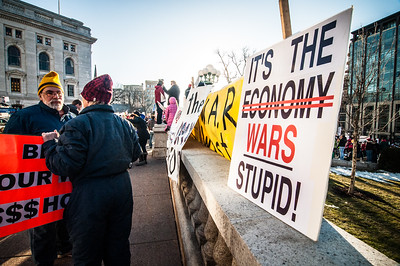 Protesters outside the Wisconsin State Capitol, Madison, WI
