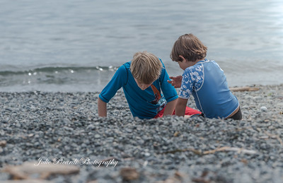 Boys exploring the beach