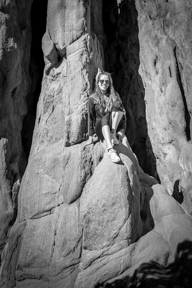 Climbing the rocks in Garden of the Gods