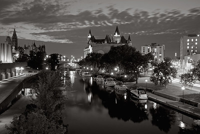 Rideau Canal at Night - Black and white