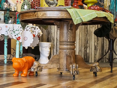 Antique Oak Claw-foot Dining Table for sale- Contact Katie at 231-271-5009 for more information