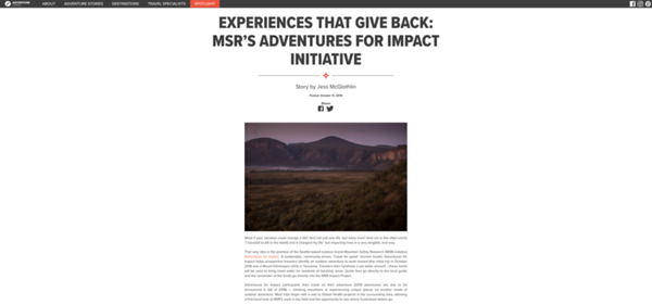 Adventure.Travel reportage with Mountain Safety Research in Kenya, Africa.  October 2018.  https://www.adventure.travel/adventure-stories/the-way/experiences-that-give-back-msrs-adventures-for-impact