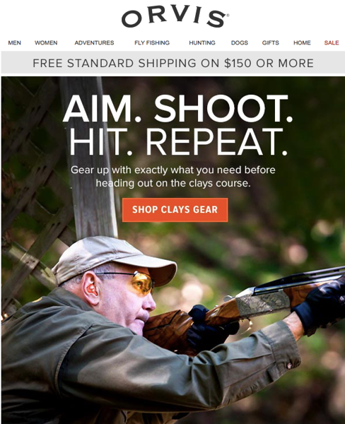 Orvis sporting clays email. Shot at Orvis Bandanna in New York State.<br /> <br /> March 2016.