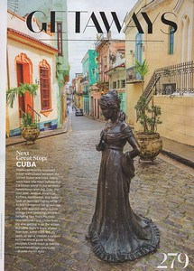 Havana, Cuba image of courtyard and statue.  Martha Stewart Weddings, December 2016.